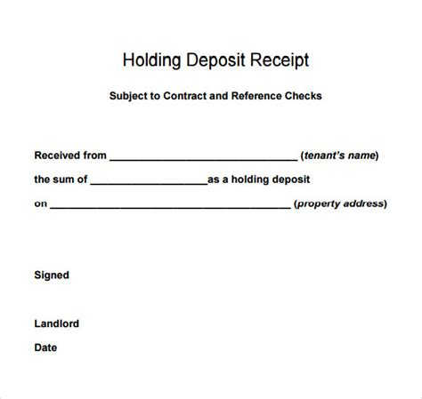 holding deposit receipt template 9 deposit receipt templates free sles exles