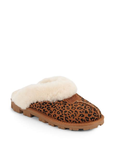 ugg suede slippers ugg coquette shearling lined leopard print suede slippers