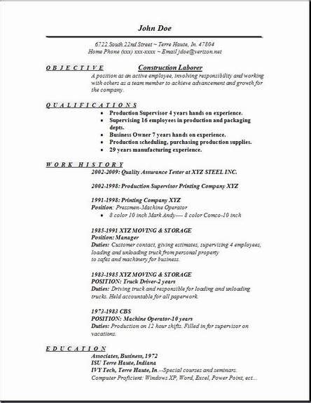 resume template for laborer construction laborer resume exles sles free edit