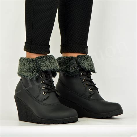 new womens fur lined ankle boots wedge platform