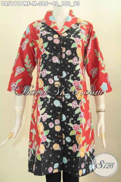 Dress Motif Bunga Warna Hitam dress batik wanita muda baju batik keren kombinasi warna