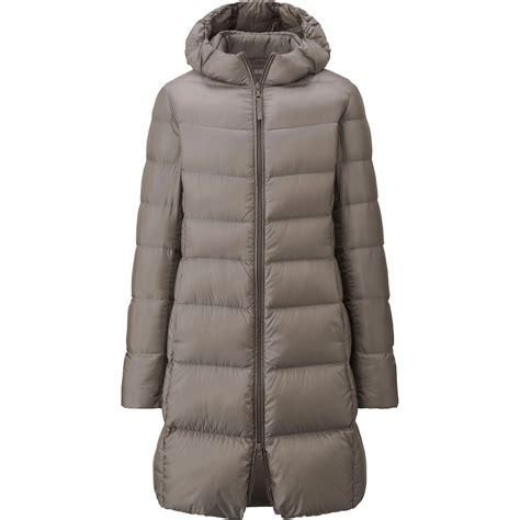 uniqlo ultra light coat uniqlo ultra light hooded coat in gray beige lyst