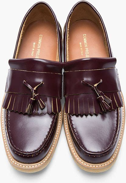 common projects loafer common projects burgundy leather fringed loafers in