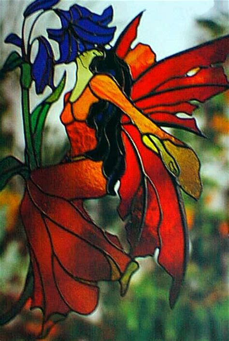 Floral Stained Glass Pattern Book faerie in dress with wings smelling blue