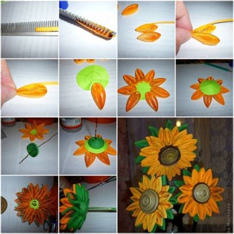 paper quilling tutorial step by step how to make quilling sunflower step by step diy tutorial