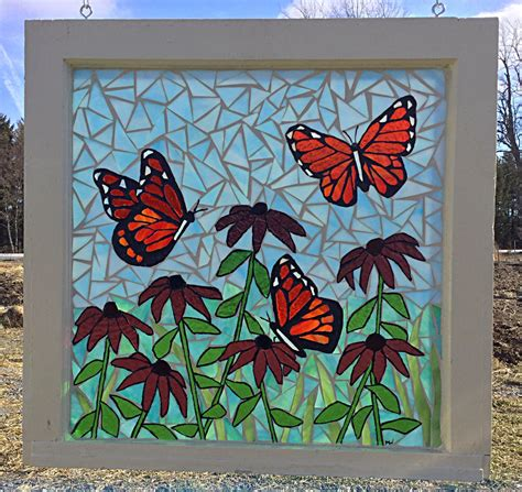 how to a stained glass l monarch butterfly flower garden stained glass mosaic panel