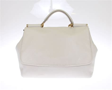 Preloved Leather Satchel Bag preloved dolce gabbana white leather miss sicily satchel