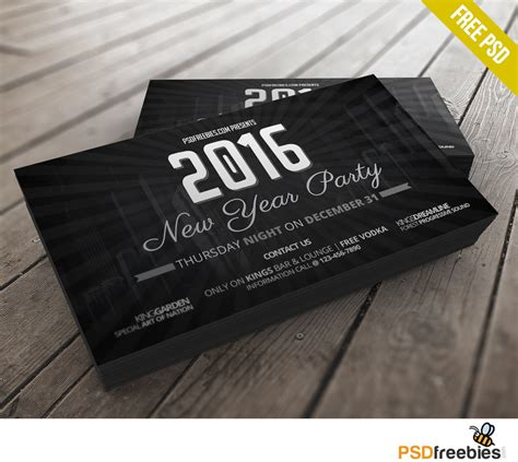 new year card template psd 2016 new years invitation card free psd