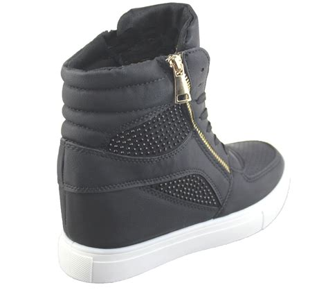 Sneaker Wedges Ankle Autunum Black womens wedge trainers ankle boots sneakers