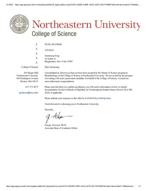 Northeastern Mba Application by Acceptance Letter Of Northeastern