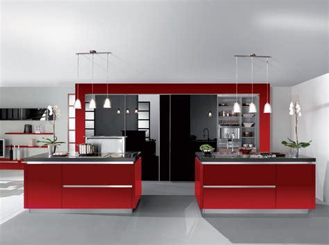 Bien Photo Cuisine Grise Et Noire #6: cuisine-rouge-noir-brillant-avec-ilot.jpg