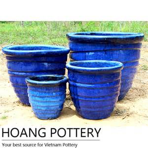 blue glazed ceramic planter hpth003 hoang pottery