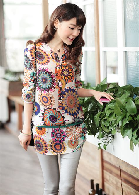 Blouse Kemeja Hem Wanita Panjang Import kemeja wanita lengan panjang motif import model terbaru