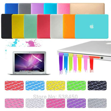 Promo Gold Macbook 15 Gold Keyboard Free Dustplug free shipping 15 colors 4in1 matte cover keyboard cover set for macbook