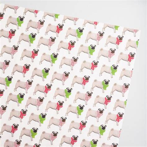 pug wrapping paper roll jumbo rows of pugs wrapping paper roll world market