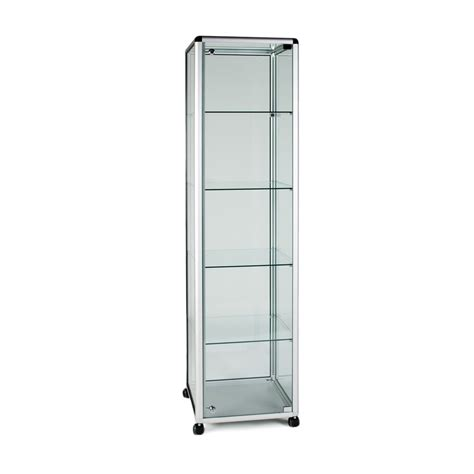 glass display cabinet tower 4 shelves shopfitting