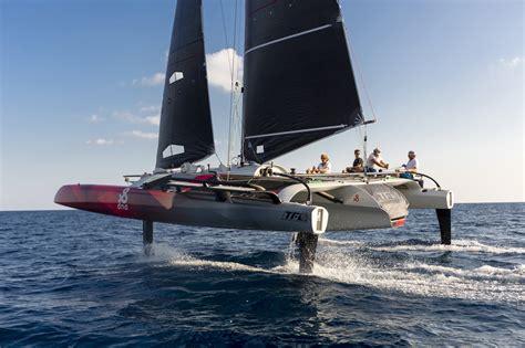 trimaran sailboat tf10 foiling trimaran dna performance sailing