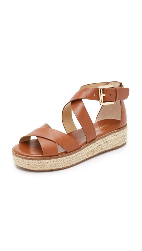 michael sandals michael michael kors darby sandals in brown lyst