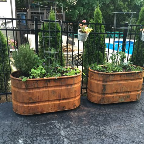 decorative garden containers copper patina and rust container gardens tucker