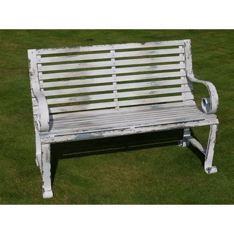 shabby chic benches shabby chic metal bench distressed swanky interiors