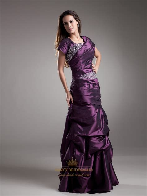 prom dress upskirt grape square neck beaded taffeta prom dress with pick up
