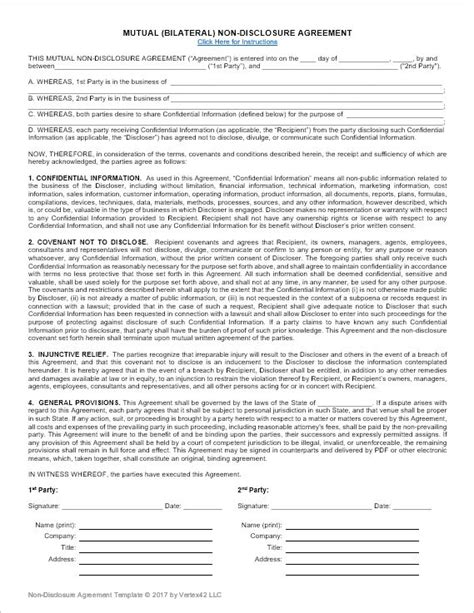 non disclosure agreement word template a free non disclosure agreement nda or