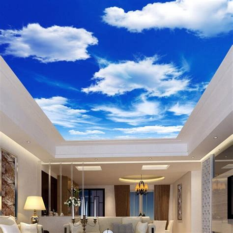 Wallpaper In Ceiling by Living Room Interior Design Ideas With Blue Sky Ceiling Wallpaper Iwemm7