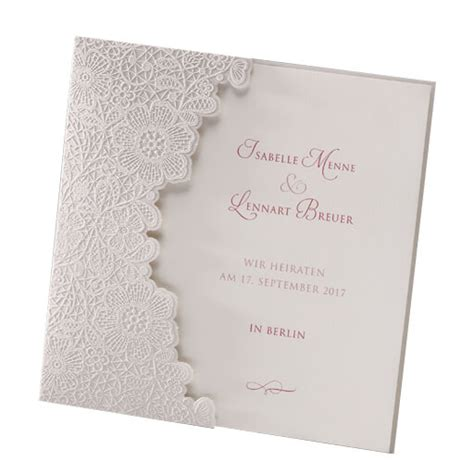 Hochzeitskarten Mit Spitze by Hochzeitseinladung Quot Quot Vintage Spitze In Creme
