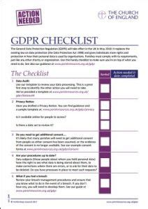 Data Protection And Gdpr The Church Of England Gdpr Checklist Template