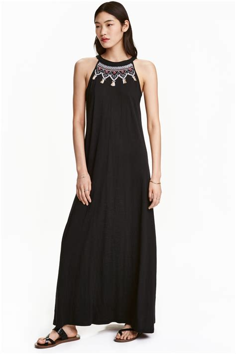 h m embroidered maxi dress in black save 29 lyst