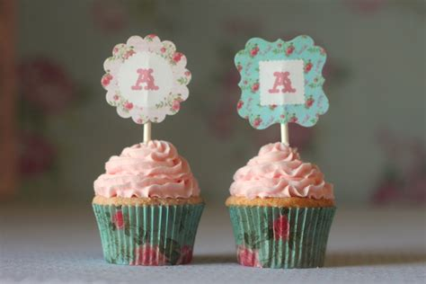 monnogram shabby chic rose printable cupcake toppers the