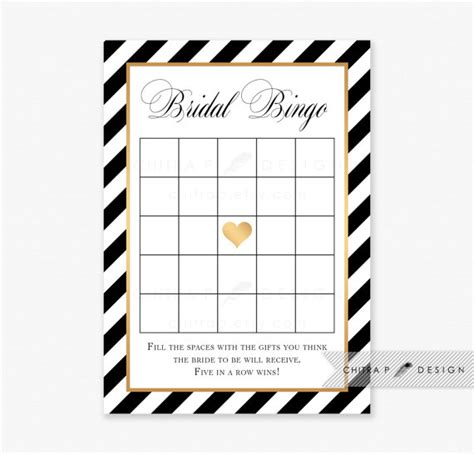 black and white printable bridal shower games black gold striped bridal shower bingo cards printed or