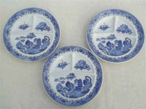 sectioned plates vintage restaurant china grill plates japan blue willow