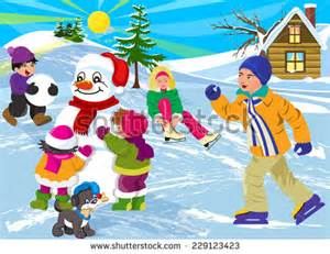 Vector illustration happy kids in winter season stock vector