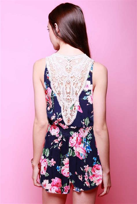 pink pattern romper summer blooms crochet lace floral romper in navy pink