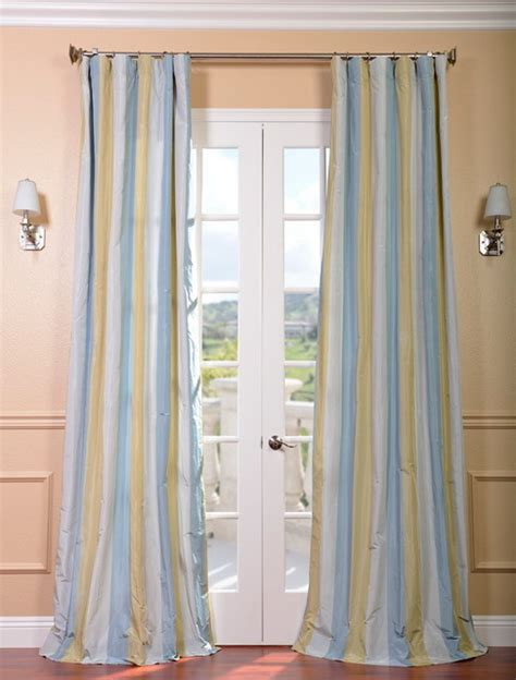 striped taffeta curtains catalina faux silk taffeta stripe curtain contemporary