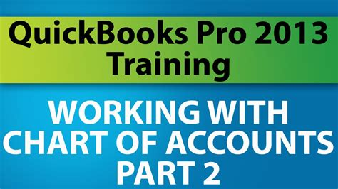 quickbooks tutorial part 2 quickbooks pro 2013 tutorial working with the chart of