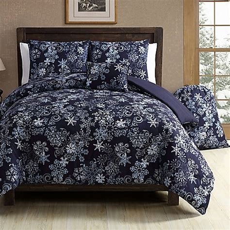 vcny scroll snowflake comforter set in navy bed bath