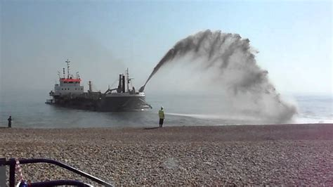 sos boat sospan dau dredger at eastbourne uk 28th march 2012