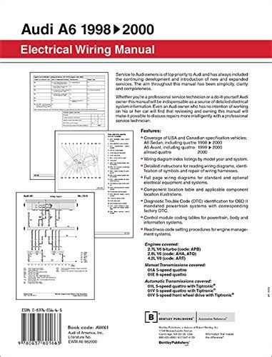 electric and cars manual 1999 audi a6 electronic throttle control audi a6 electrical wiring manual a6 sedan 1998 1999 2000 a6 avant 1999 2 ebay