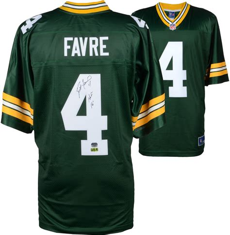 brett favre jersey brett favre green bay packers autographed green pro line jersey with quot hof 16 quot inscription