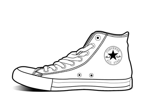 converse shoe template converse clipart outline pencil and in color converse