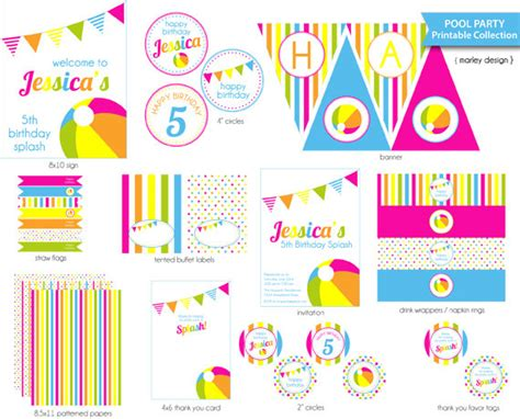 Printable Birthday Supplies | pool party printables package diy pool birthday party
