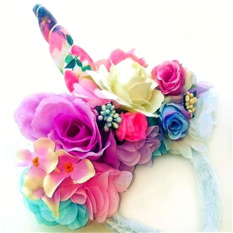 for emma watercolour floral horn pastel flowers unicorn flower crown headband puddle