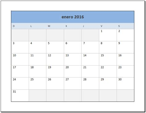 As Calendario Calendario 2016 En Excel Excel Total