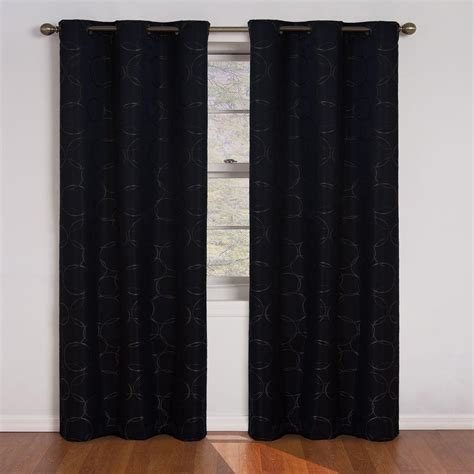 Curtains 64 Inch Length Eclipse Meridian Blackout Black Curtain Panel 84 In Length 11250042x084bk The Home Depot