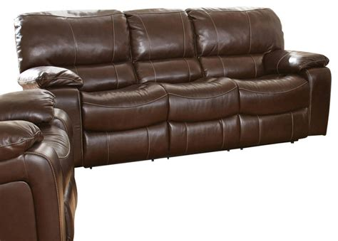 Steve Silver Brenton Double Recliner Sofa In Coffee Silver Leather Sofa