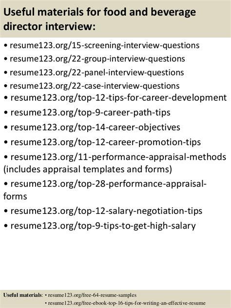 top 8 food and beverage director resume sles