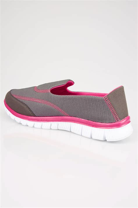 select comfort careers grey pink slip on trainers with comfort insole in true