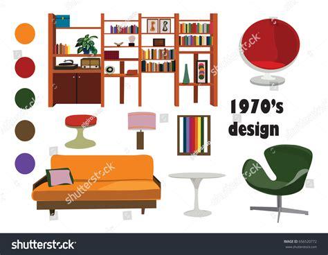 interior design elements vector 1970s 70s interior design vector elements stock vector